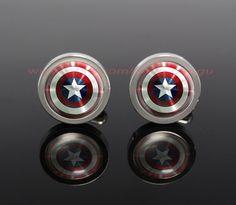 captain America shield Mens Cufflinksthe avengers by peegu on Etsy, $12.00