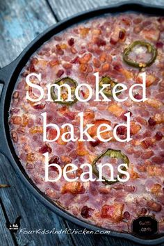 Smoked Baked Beans Recipe (Video and Post) – Four Kids and a Chicken smoked baked beans smoker recipes,masterbuilt smoker recipes,electric smoker recipes,bradley smoker recipes,best smoker recipes Smoked Baked Beans Recipe, Baked Bean Recipes, Smoked Meat Recipes, Venison Recipes, Rib Recipes, Beans Recipes, Game Recipes, Jamaican Recipes, Canning Recipes