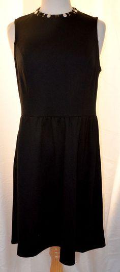 Casual Couture Sz Large  Black Jersey Knit Rhinestone Jeweled Neckline Dress New #CasualCouture #JerseyKnitDresswithJeweledNeckline #WeartoWork