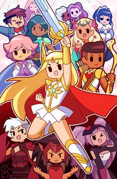 She-Ra and the Princesses of Power is an American animated web television series developed by Noelle Stevenson and produced by DreamWorks. Dessin Animé Lolirock, Chibi, Power Wallpaper, She Ra Princess Of Power, Fan Art, Owl House, Magical Girl, Cute Drawings, Cartoon Art