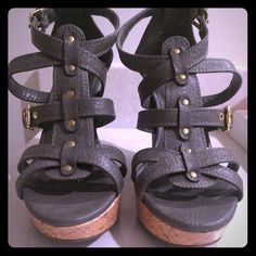 SALEDark gray/charcoal cork wedges Wedges Shoes