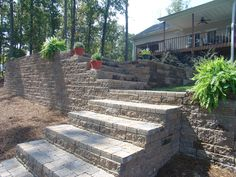 Ashlar Pattern Retaining Wall (Ashlar - Multiple sized blocks to make a random pattern) Ashlar Pattern, Retaining Walls, Outdoor Living, Outdoor Decor, Travertine, Water Features, Living Spaces, Pergola, Landscaping