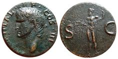 Ancient Coins - Agrippa AE as, M.AGRIPPA.L.F.COS.III. Neptune with dolphin. RIC.58. Cos, Dolphins, Roman, Personalized Items