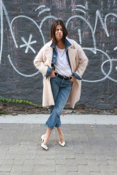 denim on denim mix with season's hit coat. #fashion #streetchic #style