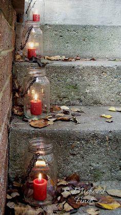 Mason Jar Lights or lanterns set of 4 clear hanging jars