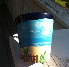 Hand Painted Beach Theme Mug by CSCPaintedCreations on Etsy, $13.00