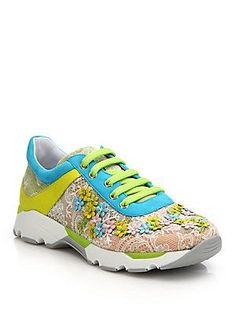 Rene Caovilla Floral-Embellished Lace & Leather Sneakers - Light P