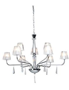Artcraft Lighting's Fairfax collection features a pure crystal column accented by frosted glass shades and crystal droplets. TM 3501. www.artcraftlighting.com