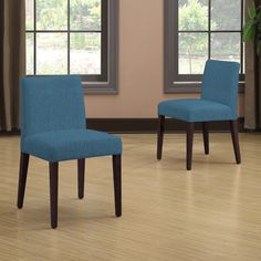 Portfolio Amity Caribbean Blue Linen Armless Dining Chair Set (Set of 2)