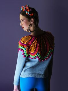 sweater by cats brothers (crazy homies lookbook). embellished with heavy wool embroidery and plastic beads.