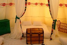 Plenty of space for a good night's sleep at Glamping Tipis in France in Poitou-Charentes, France. The cotton is Egyptian and the beds are kingsize don't yer know?