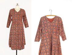 Vintage Indian Cotton Dress, Block Print Dress, Navy Mandala 70s Long Sleeve Boho Tunic Dress -- Womens M by ImprovGoods on Etsy