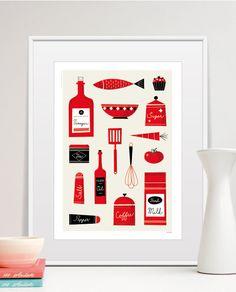 Kitchen Wall Art, Retro Kitchen Wall Decor, Modern Wall Decor Illustration, Mid Century Poster Print, Size A4 or 8x10