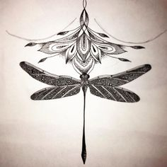 Mandala Dragonfly sternum tattoo