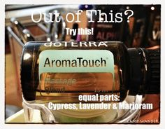 """Aroma Touch This blend works as a """"driver"""" when applying EOs to sore, strained muscles. Essential Oils For Pain, Patchouli Essential Oil, Essential Oil Uses, Verse, Doterra Essential Oils, Natural Medicine, Natural Oils, Natural Health, Natural Remedies"""
