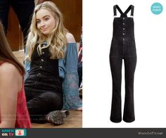 Maya's black overalls on Girl Meets World.  Outfit Details: https://wornontv.net/57835/ #GirlMeetsWorld