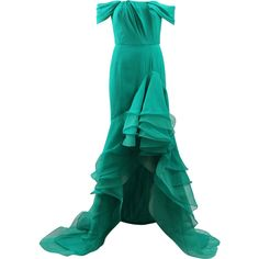Oscar De La Renta Cascade Ruffle Gown (17.380 BRL) ❤ liked on Polyvore featuring dresses, gowns, long dresses, oscar de la renta, gowns green, high low gown, off-the-shoulder ruffle dresses, off shoulder dress, off the shoulder gown and green gown