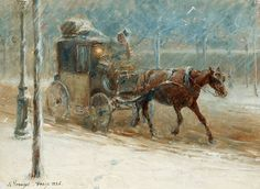 Boulevard winter scene with horse-drawn carriage , 1886 by Nils Kreuger 1907 , by Nils Kreuger