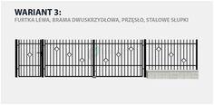 Ogrodzenie klasyczne Rita 2 w wariancie z bramą dwuskrzydłową i stalowymi słupkami.
