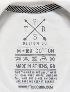 PTRSdesign CO. t-shirt label clothing tag washing instructions