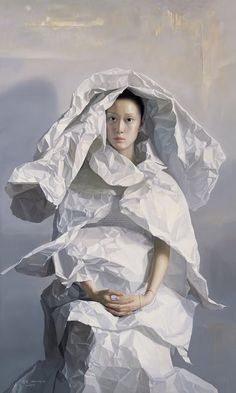 White - woman - paper  bride - painting - Artodyssey: Zeng Chuanxing