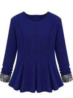 Patch Lace Plus Size Long Sleeve Blue T-Shirt