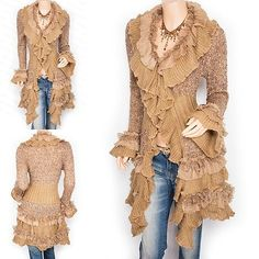Trendy Ruffles Lace Tiered Hem Button Up Cardigan Long Sweater ...