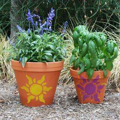 Tangled Golden Sun Flower Pot