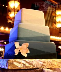 Ombre, in all of it's geometric glory! Fondant wedding cake in shades of blue