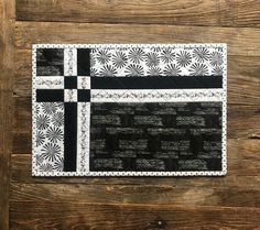 Four Quilted Placemats Black & White Flowers Mother's White Placemats, Modern Placemats, Table Runner And Placemats, Table Runner Pattern, Quilted Table Runners, Placemat Sets, Quilt Placemats, Quilted Table Toppers, Quilted Placemat Patterns