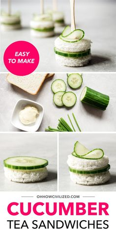 Classic cucumber tea sandwiches made easy, delicious, and completely adorable. Get step-by-step directions on how to make these simple and elegant finger sandwiches. They're perfect for tea time! High Tea Sandwiches, Cucumber Tea Sandwiches, Finger Sandwiches, Sandwich Recipes, Appetizer Recipes, Appetizers, Afternoon Tea, Tea Time, Make It Simple