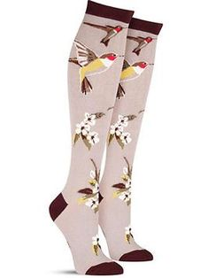 57977d96bbbcb Hummingbird Garden Fun Novelty Animal Knee High Socks for Women in Haze Knee  High Socks Outfit