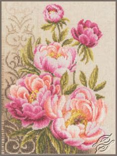 Peonies and Swirls - Cross Stitch Kits by VERVACO - PN-0147825