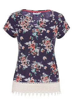 crochet hem floral print tee (original price, $29) available at #Maurices