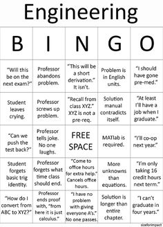 Search Woes Engineering Student BINGO It's kinda sad how many of these have happened in each of my classes.Engineering Student BINGO It's kinda sad how many of these have happened in each of my classes. Electrical Engineering Quotes, Engineering Memes, School Of Engineering, Engineering Projects, Engineering Technology, Chemical Engineering, Mechanical Engineering, Civil Engineering, Energy Technology