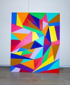 """Tableau abstrait """"Rainbow"""" peinture acrylique : Peintures par liloox"""