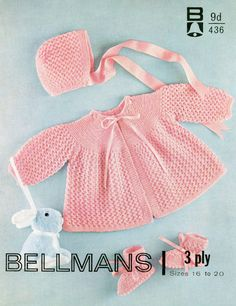 Baby 3ply Matinee Jacket Bonnet and Bootees 16-20 ins - Bellmans 436  - PDF of Vintage Knitting Patterns