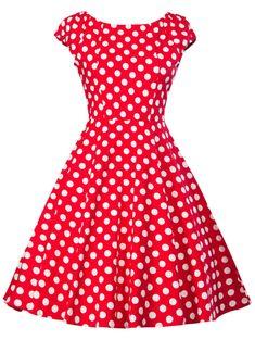 Retro Polka Dot Pin Up Skater Dress - RED S