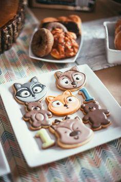 Boys Woodland Themed First Birthday Dessert Cookie Ideas