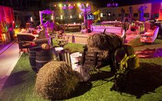 Uma carroça de feno ajuda a dar o clima rural à festa