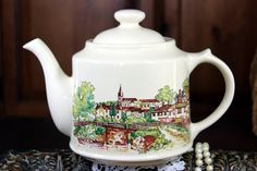 Large Wade Teapot, Tea Pot  England, Cream Porcelain, English Country Side, Transferware Pot