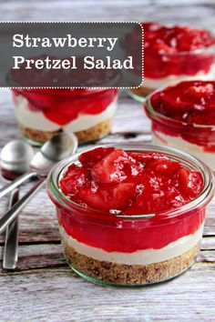 Strawberry Pretzel Salads made with fresh strawberries, whipped cream, and pretzels are perfect for outdoor entertaining this summer!