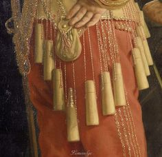 """c.1639 Pays-Bas par Bartholomeus van der Helst rijksmuseum.SK-C-375 détail doses de poudre appelées """"Douze Apôtres"""""""
