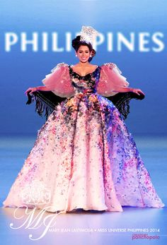 Mary Jean Lastimosa in her Filipino traditional clothing ( Maria Clara ) in a modernized style that looked like inspired or created by Elle Saab? I dunno, it's too beautiful. :)