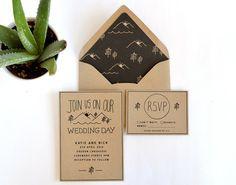 Woodsy wedding invitation, rustic wedding invitation, kraft wedding invitation by Daydream Prints on Etsy