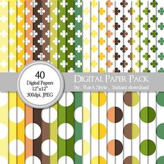 SALE 40 Digital Paper Pack  circle design Clover Dot by rueastyle