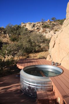 A real hot tub from a cattle watering trough. I'd need a hot spring nearby first.