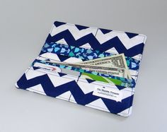 Simple Wallet - Navy Blue Chevron - Blue Green Teal Flower Fabric - Wallet Credit Card Check Book Holder via Etsy