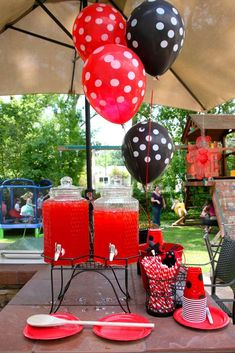 Ladybug theme drinks- parts may work for mickey/minnie party as well Picnic Birthday, Birthday Party Tables, First Birthday Parties, Frozen Birthday, Birthday Ideas, Outdoor Birthday, Ladybug Picnic, Ladybug Party, Ladybug 1st Birthdays