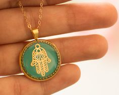 Hamsa necklace, kabbalah necklace, gold hamsa hand, lace hamsa, evil eye necklace, resin jewelry, hand of fatima, gift under 50 gift for her